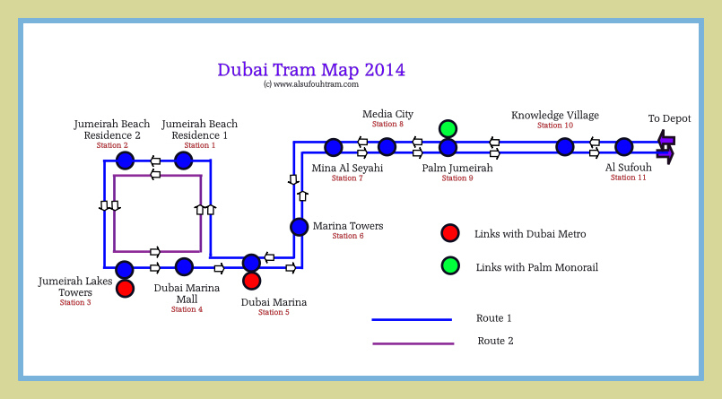 Dubai Tram Route Map