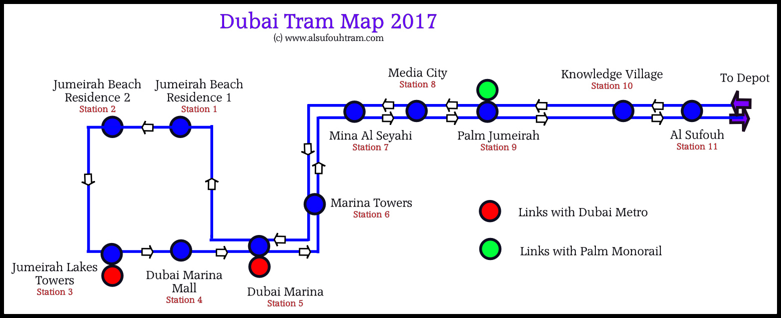 Dubai Tram Map Two Station Start Stop Wiring